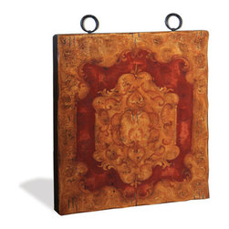 Koenig Collection - Old World Traditional Eclectic Square Art Plaque, Old Gold Distressed - Square Art Plaque, Old Gold Distressed with French Red with Scrolls