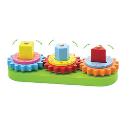 The Original Toy Company - The Original Toy Company Kids Children Play Geo Blocks And Gears - This classic manipulative wooden toy designed with geometric blocks, large gears, washers and rings, all in bright colors. Will boost eye/hand coordination and problem solving skills in a funhands on way. Skills include stacking, matching and making gears fit to turn. Constructed of harwood and is packaged in a full retail box. Weighs approximately 2.00 pounds.