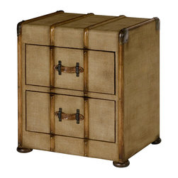 Hammary - Hammary Hidden Treasures Canvas Drawer Accent - The Hidden Treasures canvas drawer accent table by Hammary is a unique alternative to your standard end table. With all the elements of a real travel trunk, including a leather handle, bronze accents, and a worn canvas, this accent table is functional as well as stylish.