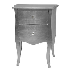 Oriental Furniture - Silver Leaf Two Drawer Cabinet - A two-drawer cabinet, with a classic scalloped top and curved, fitted drawer faces, blending modern and European design elements. Decorated with authentic silver leaf and finished in a clear, hard protective lacquer. With two practical drawers and at almost 29 inches tall, a great bedside table, telephone or flower stand.