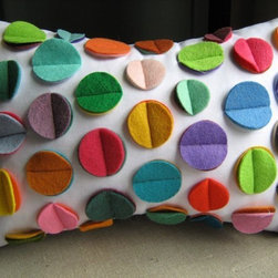 Multicolor Rainbow Felt Disc Pillow by DeDe - It's felt; it's rainbow colored; and it would be great for little fingers to explore. This cushion has just the right elements to make it kid-tastic.