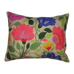 Kim Parker Inc. - Purple Tulips Pillow With Insert - The artistry of celebrated designer Kim Parker is lovingly captured in this exuberant floral throw pillow. Made from 100 percent New Zealand wool and individually embroidered by hand, each pillow is a masterwork of color and craft, sure to be treasured for years.