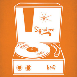 Keep Calm Collection - Vintage Record Player (Orange), Art Print - High-quality art print on heavyweight matte fine art paper. Produced using archival quality inks giving the print a vivid and sharp appearance. Features a white border to allow for future matting and framing.