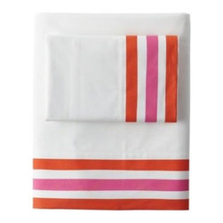 Serena & Lily - Beach Stripe Sheet Set Pink Taffy/Orange - Three painterly stripes in pink taffy and orange add fun and color to the bed. The pattern appears only on the edges of the flat sheet and cases, letting you play things up with more color or tone things down with all-white layers.