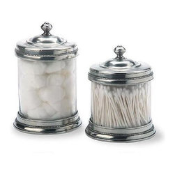 Pewter And Glass Canisters By Match Of Italy - Gorgeous pewter and glass canisters with lovely detailing. Perfect in a vintage or even mixed into an eclectic bath design.