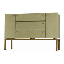 Arteriors - Arteriors 5359 Gunther Credenza - Arteriors 5359 Gunther Credenza made with Light Sage Painted Wood/Antique Brass Hardware.