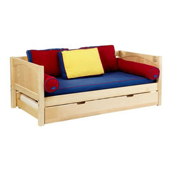 Maxtrix - Yo Panel Daybed - MXTX211 - Shop for Daybeds from Hayneedle.com! The perfect bed for any child the Yo Panel Daybed is a simple yet strong and well-crafted bed that can be changed over time with a few simple additions. Made from solid birch hardwood and available in your choice of non-toxic finishes this daybed comes with the option of a trundle or drawers and also includes a slat roll so you don't need a bunkie board.Additional FeaturesSolid panel endsMeets or exceeds ASTM standardsWe take your family's safety seriously. That's why all of our bunk beds come with a bunkie board slat pack or metal grid support system. These provide complete mattress support and secure the mattress within the bunk bed frame. Please note: Bunk beds and loft beds are only to be used by children 6 years of age or older.