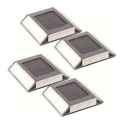 Frontgate - Outdoor Set of Four Solar Driveway/Path Lights - Set of four. Two LED lights per unit. Up to eight hours of light on a full charge. Weather-resistant stainless steel. Automatically turns on at dusk after full charge. Illuminate your yard and enhance the curb appeal of your home with our Solar Driveway/Path Lights. Place the lights where they can obtain direct sunlight and the automatic sensor will turn them on at dusk to show the way.  .  .  . .  . Includes rechargeable AA (NiMH) batteries, installation screws and stakes . Virtually maintenance-free .