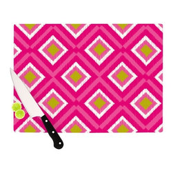 """Kess InHouse - Nicole Ketchum """"Moroccan Hot Pink Tile"""" Cutting Board (11"""" x 7.5"""") - These sturdy tempered glass cutting boards will make everything you chop look like a Dutch painting. Perfect the art of cooking with your KESS InHouse unique art cutting board. Go for patterns or painted, either way this non-skid, dishwasher safe cutting board is perfect for preparing any artistic dinner or serving. Cut, chop, serve or frame, all of these unique cutting boards are gorgeous."""