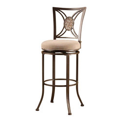 Hillsdale Furniture - Hillsdale Rowan Swivel Bar Stool in Silver Brown - Flashy with an Old World flair, the Rowan stool is a conversation starter. The Rowan has a unique oval fossil stone as the centerpiece of its classic back design, as well as a muted neutral finish and light brown fabric seat cover. It has a 360 degree swivel seat, and is available in both bar and counter heights. Some assembly required.