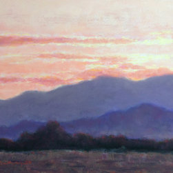 'Backlit Mountains' Original Pastel Painting by Paige Smith-Wyatt - This gorgeous painting by Paige Smith-Wyatt reminds me of the Blue Ridge mountains of central Virginia. Even better, it gives you a striking color combination of lavender and coral pinks with deeper neutral grays and browns.
