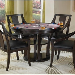 Home Styles - Home Styles Rio Vista 5 piece Espresso Dining/Game Table Set Dark Brown - 5902-3 - Shop for Dining Tables from Hayneedle.com! If you're keeping score the Rio Vista 5 pc. Espresso Dining/Game Table Set has plenty of points to win you over. It serves not only as a place to enjoy meals but a place to play cards board games and so much more. Simply flip the table top over to reveal a handy felt-lined game table surface for eight players. There are eight drink holders and built-in slots to hold game pieces poker chips or dice. Constructed of durable Asian hardwoods and birch veneers in an espresso finish this table includes four matching wood chairs. Boasting a casual contemporary style the chairs are complete with cushioned seats upholstered in black vinyl curved armrests and backrests for your comfort and support.About Home StylesHome Styles is a manufacturer and distributor of RTA (ready to assemble) furniture perfectly suited to today's lifestyles. Blending attractive design with modern functionality their furniture collections span many styles from timeless traditional to cutting-edge contemporary. The great difference between Home Styles and many other RTA furniture manufacturers is that Home Styles pieces feature hardwood construction and quality hardware that stand up to years of use. When shopping for convenient durable items for the home look to Home Styles. You'll appreciate the value.