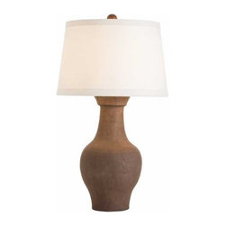 Arteriors - Arteriors Home - Dayton Lamp - 17080-250 - A substantial sized urn shape ceramic, hand thrown then hand finished to look like aged terra cotta. The Euro-tapered ivory linen shade is lined in cotton to match.