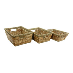 Oriental Furniture - Hand Woven Open Tote Tray ( Set of 3 ) - Storage baskets help you make the most of your space by keeping things organized. This set of three baskets will keep things coordinated as well. Matching your storage bins gives the space a streamlined look and feel. The natural color of this set blends in with any decor.