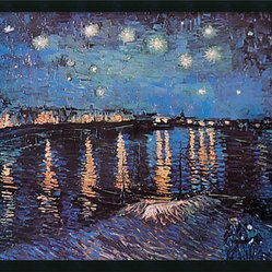 Starlight Over the Rhone Framed with Gel Coated Finish by Vincent van Gogh