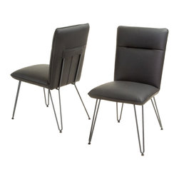 Great Deal Furniture - Bonsallo Vinyl Dining Chair (Set of 2), Black - Accentuate any living space with these modern dining chairs. The Bonsallo dining chair is a sleek addition to sophisticate any environment with its clean angles and lines.