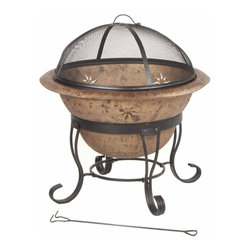 Kay Home Products - Soleil Steel Fire Bowl - For burning wood and artificial logs. Two piece fire bowl; Antique Copper bowl, enhanced with decorative sun cutouts, sits in metal ring Full 360 degrees view of fire with high domed fine wire mesh lift-off spark screen.Features: