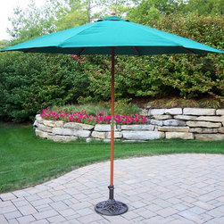 Oakland Living - 9 ft. Market Umbrella w Pulley - Rochester (W - Color: WhiteMade of Durable Wood and Poly Material Construction. Pictured in Green. Easy to follow assembly instructions and product care information. Stainless steel or brass assembly hardware. Fade, chip and crack resistant. 1 year limited. Lightweight and constructed of durable wood and poly material for years of beauty. Some assembly required. 108 in. W x 108 in. L x 100 in. H (45 lbs.)This umbrella set will be a beautiful addition to your patio, balcony or outdoor entertainment area. Our umbrella sets are perfect for any small space, or to accent a larger space.