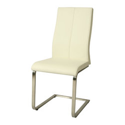 Pastel Furniture - Pastel Furniture Olander Side Chair X-879-SS-011-LO - The Olandar side chair exemplifies handsome proportions and clean design. With simple lines mixed with curves for comfort, this beautiful chair adds style and elegance to the dining experience. The chair is upholstered in Pu ivory with stainless steel frame.