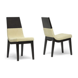 Baxton Studio - Baxton Studio Prezna Dark Brown/ Beige Modern Dining Chairs (Set of 2) - Our Prezna Designer Dining Chairs features a sleek curved design, dark beige fabric seats, and foam cushioning. A black/brown wenge finish completes the solid rubberwood frame.