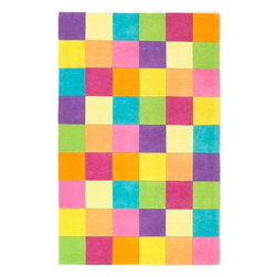 KAS - Kidding Around 420 Girls' Color Blocks Rug by Kas - 3 ft 3 in x 5 ft 3 in - The Kidding Around Collection from KAS features fun imaginative patterns made with soft plush wool. Made with bright vibrant colors, these rugs are great for any child's room and is arguably our most popular children's collection.
