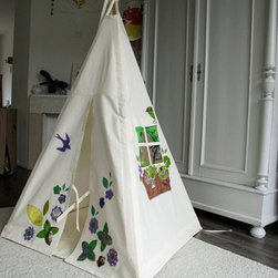 Kids Teepee for Indoor Play, Vintage Fabrics by Moozle Home - Tents are very popular right now, and if it has a little window to peek out of, it's even better!