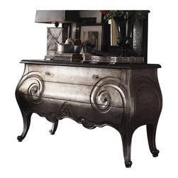 Henry Link - Henry Link Club Moustache Hall Chest in Burnished Silver Leaf - Henry Link - Accent Chests - 014011951
