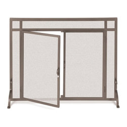 Fireside Distributors - Flat Bronze Finish Fireplace Screen w Doors (44 in. Width) - Choose Size: 44 in. Width. Free-standing bronze finish fireplace screen is a beautiful and functional way to enhance the look of your fireplace while protecting your hearth and flooring.  It features hinged doors for easy access to add wood or stoke the fire, and it is available in two popular sizes. These fully operable door screens feature a straight top door. Allow 0.13 in. tolerance due to hand forging. Screen sizes listed are for actual framed mesh area and do not include feet or decorative finials. Bronze finish. 39 in. W x 31 in. H (41 lbs.)