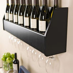 """Prepac - Floating Wine Rack in Black - Finished in durable deep black laminate . Mounts easily to wall with our innovative hanging rail system. Shelf holds up to 18 standard 750ml wine bottles or a variety of liquor bottles  (65lbs total weight capacity)  . Rack holds approximately 8-12 stemmed glasses. Constructed from CARB-compliant, laminated composite woods . Includes a 5-year manufacturer's limited parts warranty. 40.75 in. W x 7.25 in. D x 12.75 in. H Display your finest bottles of wine and liquor with this clever Floating Wine Rack. This wall mounted rack has a compact design to conserve space in your bar, living room, kitchen or dining area. With its sturdy construction you can display up to 18 standard 750ml bottles of wine or spirits. Keep a variety of stemmed glasses at hand by sliding them into the hidden channel underneath. This product ships """"Ready to Assemble"""" with an instruction booklet for easy assembly. Installation is easy with Prepac's hanging rail system."""