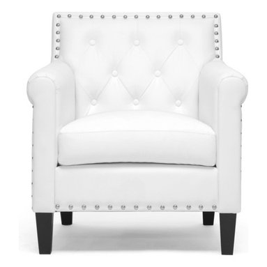 Baxton Studio - Baxton Studio Thalassa White Modern Arm Chair - You will love the modernizing effect Thalassa's crisp white faux leather upholstery has on your living space. This designer arm chair is also made with a wooden frame, foam cushioning, and black solid rubberwood legs with non-marking feet. Shiny silver tone nail head accents dot the perimeter of the chair's backrest. Crafted in Malaysia, this contemporary club chair should be wiped clean with a damp cloth and immediately dried. Some minor assembly is required.