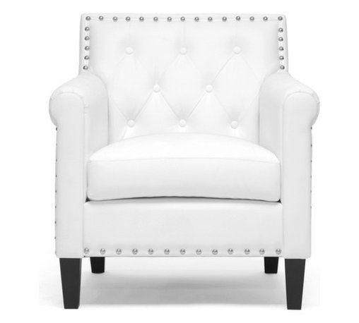 Baxton Studio - Baxton Studio Thalassa White Modern Arm Chair - you,l love the modernizing effect Thalassa's crisp white faux leather upholstery has on your living space.  This designer arm chair's made with a wooden frame, foam cushioning, and black solid rubberwood legs with non-marking feet.  Shiny silver tone nail head accents dot the perimeter of the chair's backrest.  Crafted in Malaysia, this contemporary club chair should be wiped clean with a damp cloth and immediately dried. Some minor assembly is required.