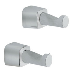 Gedy - Two Satin Nickel Robe Hooks - Pair of sleek satin steel robe hook(s).