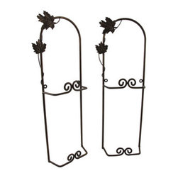 The Winery Pair of Wall Mounted 8 Inch Plate Display Racks - This pair of plate racks adds a decorative accent to kitchens and dining rooms in homes or restaurants. Made of metal, with a bronzed finish, each measures 18 1/4 inches long, 6 1/2 inches wide, and 2 1/4 inches deep. Each rack accommodates two 8 inch plates, and mounts to the wall with the included hardware. The neutral color is sure to complement most any decor, making these plate racks a wonderful addition to your home.