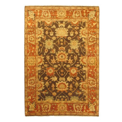 """Torabi Rugs - Hand-knotted Royal Ushak Orange Wool Rug 6'2"""" x 9'0"""" - An inspiring blend of classical Turkish Ushak motifs and contemporary styles. Prized for its pastel colors, artistic designs and superior craftsmanship, this rug will work well with both traditional and transitional home decors."""