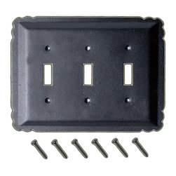 Renovators Supply - Switchplates Black Steel Triple Toggle Switch Plate - Switchplate. These outstanding switchplates are crafted of steel and resemble wrought iron. Our exclusive RSF coating protects this product for years to come and gives the switchplate added wrought iron texture. A fabulous detail for a modern sleek look or for that Old Colonial charm. Mounting hardware included.