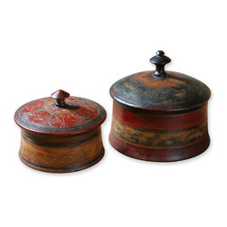 Uttermost - Sherpa, Boxes, Set Of 2 - These decorative boxes are finished in hues of red and brown with etched details. Removable lids. Sizes:Sm=7 in. x6 in. x7 in. , Lg=9 in. x8 in. x9 in. .