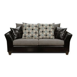 Chelsea Home Holly Sofa - Denver Black / Flat Suede Graphite / San Francisco Blu - Sleek black upholstery perfectly complemented by extra-wide seat and back cushions in gray make this Chelsea Home Holly Sofa - Denver Black / Flat Suede Graphite / San Francisco Blueberry a plush contemporary addition to living rooms, lounge areas and spacious apartments. Always sturdy and comfortable, this sofa adapts to any situation, whether that's hosting guests or spending downtime by yourself. The set comes with two large throw pillows with a modern circular design that give the sofa added personality. Constructed with a solid hardwood frame, the couch's backbone is upholstered in black vinyl. As a contrast, resting on top of the frame are two 40-inch-wide cushions in gray that were constructed with no-sag steel springs that offer maximum support and as a bonus, are wrapped in Dacron, a material that prevents annoying slipping and sliding when you shift body position or stand up to grab something from the kitchen. The couch measures 80 inches wide, comfortably seating three and providing more than enough room for you to sprawl out and watch television or take a well-deserved afternoon nap.About Chelsea Home FurnitureProviding home elegance in upholstery products such as recliners, stationary upholstery, leather, and accent furniture including chairs, chaises, and benches is the most important part of Chelsea Home Furniture's operations. Bringing high quality, classic and traditional designs that remain fresh for generations to customers' homes is no burden, but a love for hospitality and home beauty. The majority of Chelsea Home Furniture's products are made in the USA, while all are sought after throughout the industry and will remain a staple in home furnishings.