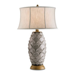 Currey and Company - Demitasse Table Lamp - Beautiful terra cotta lamp in an antique white finish. The lamp can be used in a traditional as well as transitional settings. The shade is oatmeal linen.