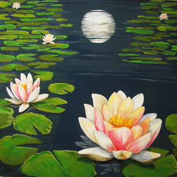 "Water Lily Pond Moon Reflection,Original Large Size, 58""x 58"". - ""Water Lily Pond"" is an extra large canvas of 58""x58""."