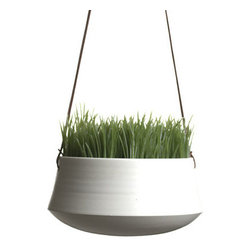 Hanging Planter, Medium by Ingleside Pottery - I love these modern ceramic planters. They would look great hanging around a patio filled with herbs or succulents.