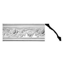 The Renovators Supply - Cornice White Urethane Bridge of Flowers - Cornice - Ornate | 20420 - Cornices: Made of virtually indestructible high-density urethane our cornice is cast from steel molds guaranteeing the highest quality on the market. High-precision steel molds provide a higher quality pattern consistency, design clarity and overall strength and durability. Lightweight they are easily installed with no special skills. Unlike plaster or wood urethane is resistant to cracking, warping or peeling.  Factory-primed our cornice is ready for finishing.  Measures 5 3/8 inch H x 77 inch L.