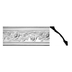Renovators Supply - Cornice White Urethane Bridge of Flowers - Cornice - Ornate | 20420 - Cornices: Made of virtually indestructible high-density urethane our cornice is cast from steel molds guaranteeing the highest quality on the market. High-precision steel molds provide a higher quality pattern consistency, design clarity and overall strength and durability. Lightweight they are easily installed with no special skills. Unlike plaster or wood urethane is resistant to cracking, warping or peeling.  Factory-primed our cornice is ready for finishing.  Measures 5 3/8 inch H x 77 inch L.