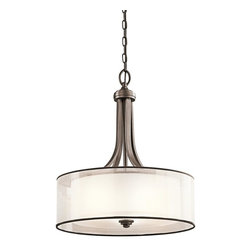 Kichler - Kichler Lacey 4-Light Mission Bronze Drum Shade Pendant - 42385MIZ - This 4-Light Drum Shade Pendant is part of the Lacey Collection and has a Mission Bronze Finish.