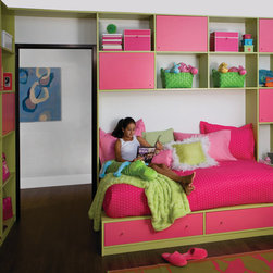 Kids' Built-in Bed - We designed this custom kids' bed with storage underneath using bright colors. transFORM offers over 2,000 customizable paint colors to choose from. The room includes a built-in bed with  drawers underneath and a custom wall unit with a combination of shelving, cabinets and drawers using flush mount, flat styled fronts.