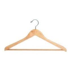 Proman Products - Genesis Suit Hanger in Natural Lacquer Finish - Set of 50. With wooden bar. Chrome hardware