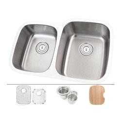 "TCS Home Supplies - 30 Inch Stainless Steel Undermount Double Bowl Offset Kitchen Sink - 18 Gauge - Undermount Kitchen Sink. 18 Gauge Stainless Steel. 40/60 Double Bowl. Sink comes with Matching Protective Grid Set, Deluxe Basket Strainer, Eco-Friendly Bamboo Cutting-board for FREE! Dimensions 29-3/8"" x 20-3/4"" x 7"" I 9"""