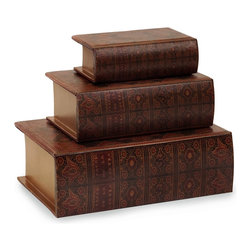 iMax - iMax Nesting Wooden Book Box Set X-3-00131 - Nesting wooden book boxes, covered in colorful, faux leather