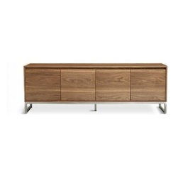 Gus Modern - Gus Modern | Annex Credenza - Part of the Annex Series from Gus* Modern, the Annex Credenza features a sleek silhouette that is unencumbered by bulky handles or pulls. With 4 self-closing doors, the Annex Credenza is both a modern and functional storage unit. The warm walnut shell is a  perfect contrast to the cool, stainless steel base. Recessed handles give the Annex Credenza a clean, minimal look. The Annex Credenza includes two adjustable shelves and an adjustable middle leg for additional support. Five leveler feet allows the Annex Credenza to stand steady on uneven or angled floors. Plastic feet prevent floor surfaces from being damaged.