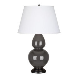 Robert Abbey - Robert Abbey Large Double Gourd Pearl Dupioni Table Lamp with Bronze Base CR21X - Ash Glazed Ceramic