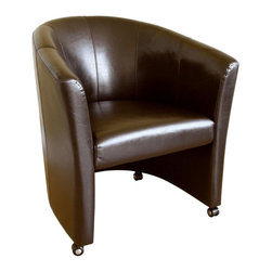 Wholesale Interiors - Baxton Studio Leather Club Chair in Dark Brown - This Leather accent / club chair which is completed by gracefully rolled arms and back has a classic design with a modern feel that will complement any seating area. Durable polyurethane coated leather upholstery for longer lasting use and stain resists for easy clean up. Chair constructed with hardwood frame with high density foam padding and a rubber webbing interior support system for added comfort. Stylish design with panel stitching. Features caster legs that would allow easy access for you to go around. The perfect combination of quality craftsmanship with simple and sophisticated designs, will instantly enhance your room decor.